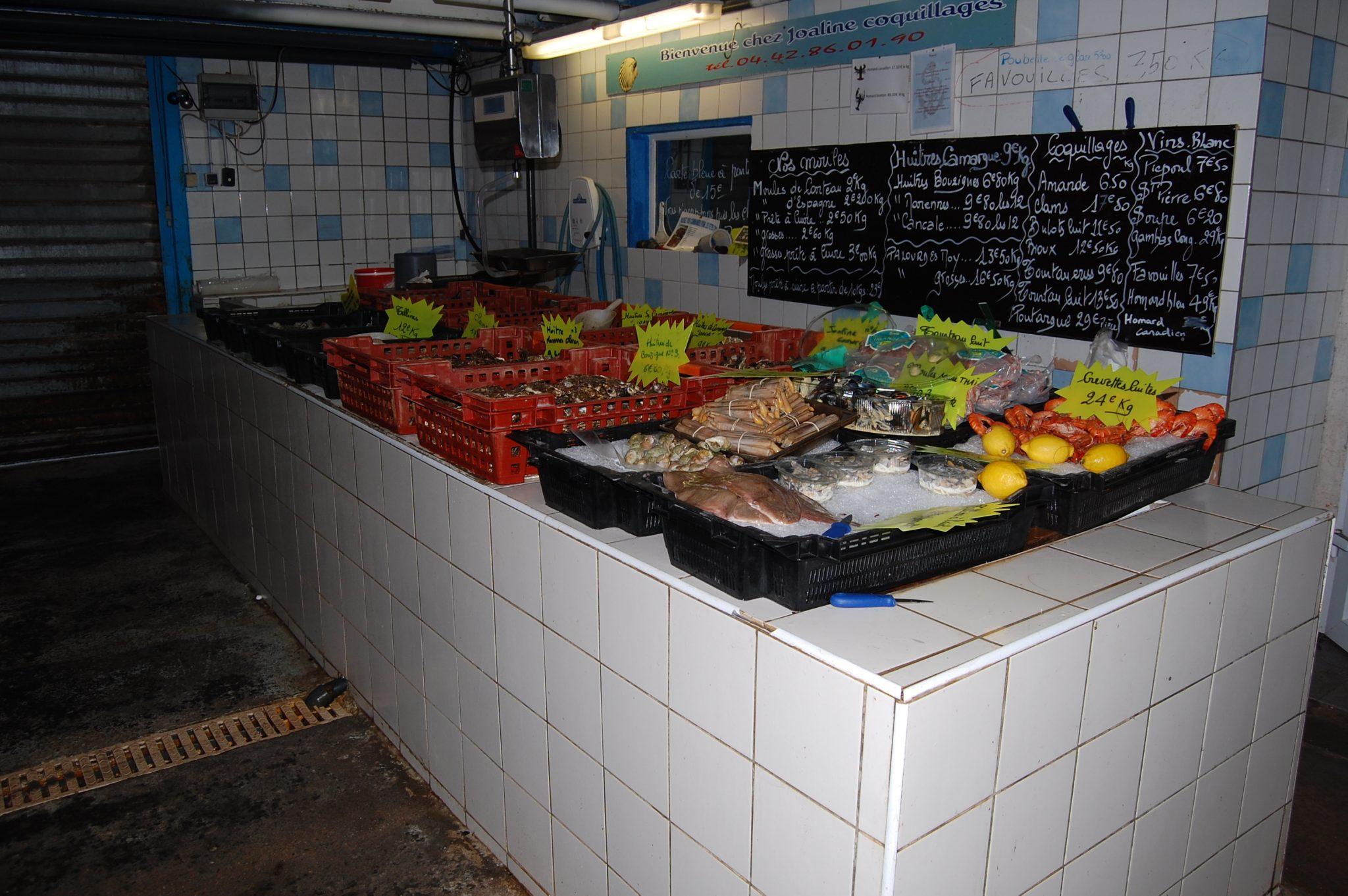Découvrez l'étal de poissons et coquillages